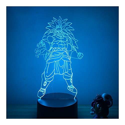 Cadeau D'animation Lumière LED 3D Nuit Dragon Ball Petit Ami De Noël Cartoon Character 7 Couleurs Lampe Tactile Sommeil Décoration De La Maison Modèle D'éclairage (Emitting Color : H)