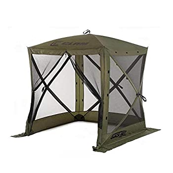 CLAM Quick-Set Traveler 6 x 6 Foot Portable Pop Up Outdoor Camping Gazebo Screen Tent 4 Sided Canopy Shelter with Ground Stakes and Carry Bag Green