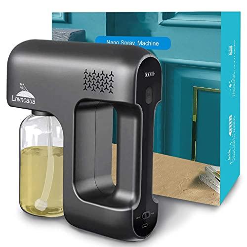 Lnvnoaua Disinfectant Fogger Machine Sanitizer Atomizer Cordless Electric Nano Spray Gun ULV Blue Ray Steam Mist Disinfection Gun for Home/Office/Car/Gym/Salon/School/Hospital/High-Contact Item Etc.