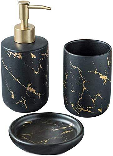 FülleMore Keramik Bad Accessoires Set luxuriös Marmor Optik 3-teiliges Badezimmer Zubehörset aus Seifenspender Seifenschale Zahnputzbecher (Schwarz)