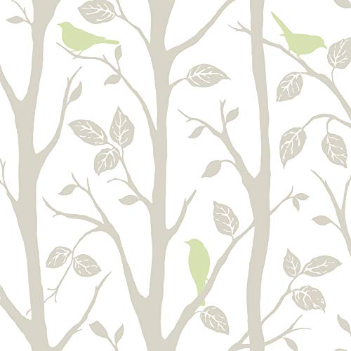 WallPops NU1655 Sitting in A Tree Peel and Stick Wallpaper, Multi-Color
