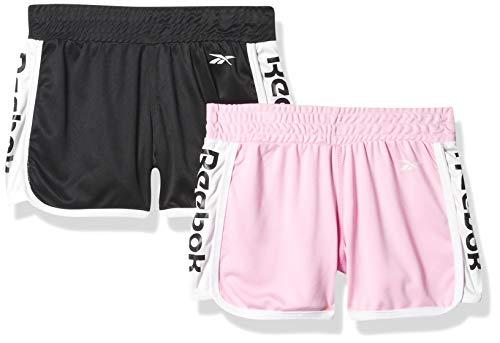 Reebok - Pantalones Cortos Deportivos para niña, Negro/Rosado, 14/16