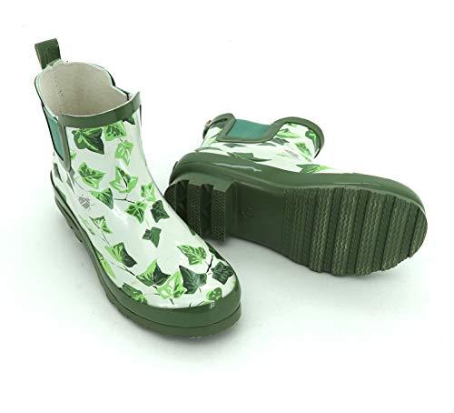 heimtexland ® Gummistiefel Stiefeletten Wasserdicht Efeu Regen-Stiefel Profil-Sohle Garten-Schuhe 37 Typ660