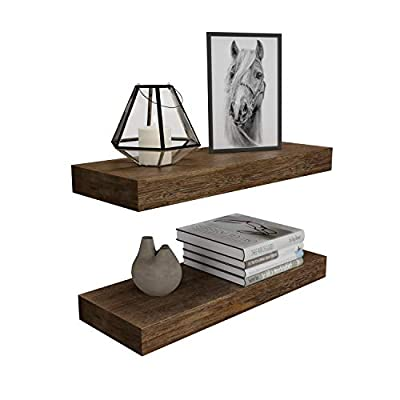 BAMFOX Floating Wall Shelf Set of 2,Natural Bamboo Wall Decor Storage Shelf?Wall Mount Display Rack for Bedroom, Living Room, Bathroom, Kitchen, Office and More