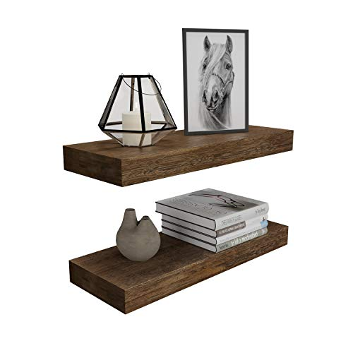BAMFOX Floating Wall Shelf Set of 2Natural Bamboo Wall Decor Storage Shelf,Wall Mount Display Rack for Bedroom Living Room Bathroom Kitchen Office and More
