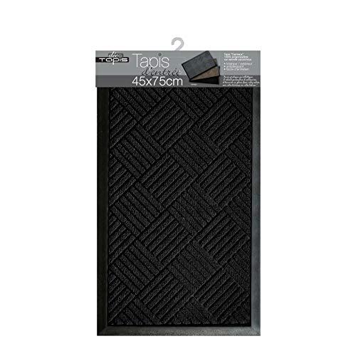 douceur d'intérieur tapis d'entree rectangle 45x75 cm pvc carreaux noir