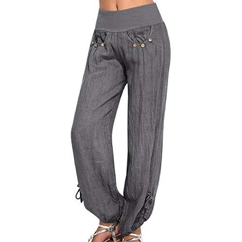 N\P Pantalones de lino de algodón con botón negro para mujer, pantalones sueltos, pantalones de pierna ancha, pantalones de carga de playa de verano