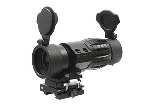 BEGADI 4X Magnifier mit Push Button Flip to Side Weavermontage, inkl. FlipUp Caps - schwarz