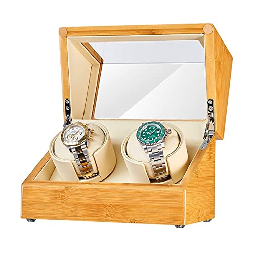 CCAN Enrollador automático de Madera 2 + 0, Motor silencioso con Almohada Suave para Reloj, Modo 5, Acabado de Piano de Fibra de Carbono, Caja de Almacenamiento de Reloj, Reloj