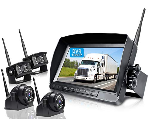 ZEROXCLUB 1080P Wireless Backup Camera System Kit, 9' DVR Quad Split Monitor & IP69 Waterproof Back Up Rear View Side View Reversing Camera with Stable Signal for RV/Truck/Trailer/Bus/Van-B904