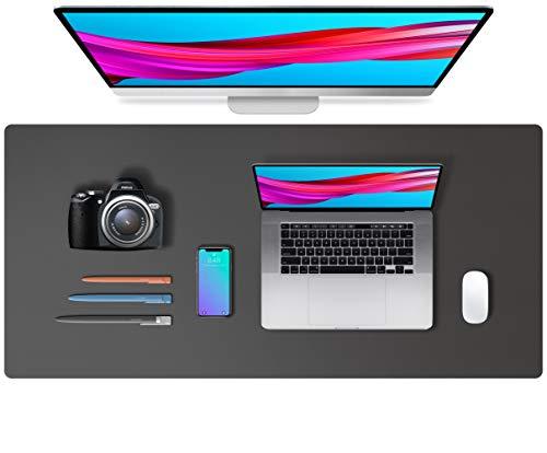 Alfombrilla de escritorio, alfombrilla de ratón, protector de escritorio, papel secante de cuero de PU antideslizante para juegos de oficina/hogar(91cmx43cm,gris)