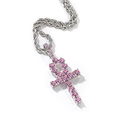 JIANDIAO - Collar con cruz de diamante rosa con cadena de acero inoxidable de 3 mm, joyería cristiana, bautismo, regalo de la iglesia para hombres y mujeres, Acero inoxidable,