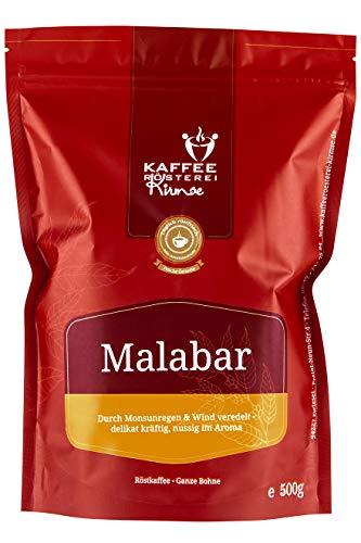 Kaffeerösterei Kirmse I Kaffee Malabar I 500g I Monsooned Malabar aus Indien I Kaffee gemahlen I Handverlesen I Fair gehandelt I Schonend geröstet I Wenig Säure I Filterkaffee I 100% Arabica