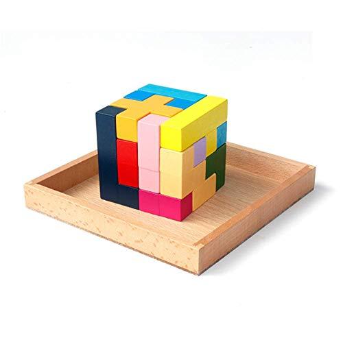 LanYo知育玩具 木製のおもちゃテトリス ブロック モンテソッリー教具 テトリス 立体パズル ブロック 教育 形合わせ