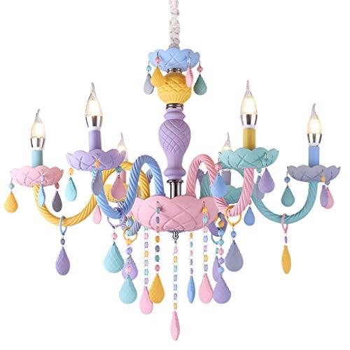 FHTD gekleurde kristallen kroonluchter Europese kaars regenboog restaurant licht E14 kinderkamer slaapkamer meisjes prinses macarons kroonluchter [energieklasse A++] 6heads