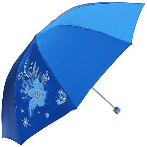 ZJJJD Paraguas Plegable Día Lluvioso Mujer Linda Mariposa 10 Huesos 300t Diez Piezas Satinado Anti-UV Medidas De Lluvia Paraguas Plegable Moda-Azul Hermoso Paraguas Flexible Duradera Antideslizante