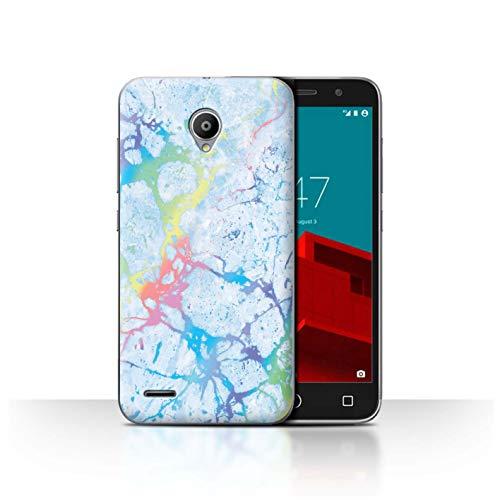 eSwish Carcasa/Funda Dura para el Vodafone Smart Prime 6 / Serie: Efecto Mármol Holográfico Color - Piedra Preciosa Azul