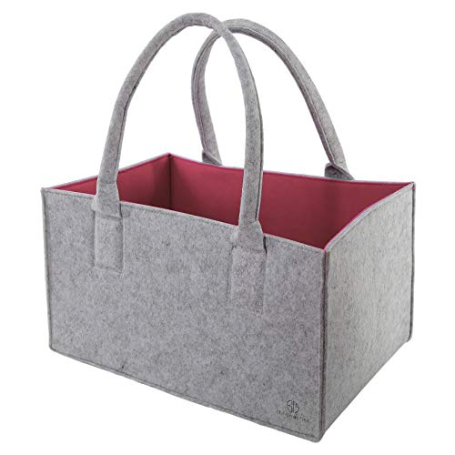 Premium Filztasche von Stil-Macher | Grau Pink | Design Einkaufstasche, Shopper, robuste Filztasche, Kaminholztasche, Einkaufskorb aus hochwertigem Filz | 44x35x30 cm