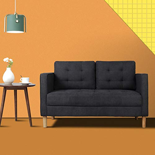 Mid-Century Modern Classic Fabric Loveseat Sofa, Tufted Living Room Upholstered Loveseats Couch, Suitable for Home and Office