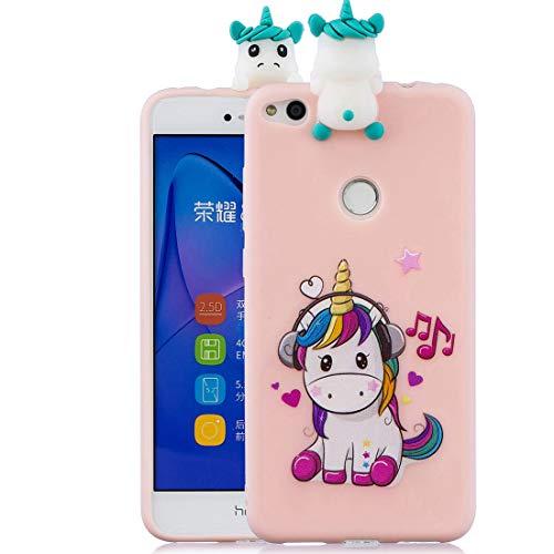 Huawei P8 Lite 2017 Cacasa, P8 Lite 2017 Funda 3D de Cartoon precioso pintados coloreados suave TPU antideslizante a prueba de golpes de protección completa Compatible con P8 Lite 2017, Unicornio