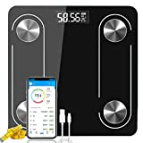 Digital Weight Scale for Body Fat Bathroom Bluetooth Smart Scales, Wireless BMI Electronic Wighing Machine for People with USB Rechargeable, Composition Analyzer with Smartphone App(Black)