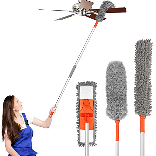 Baban Dusting Kit Microfiber Duster with 3 Extension Pole 5.54FT Cleaning Kit with 3 Attachments Microfiber Mop Flexible Duster Feather Duster for Ceiling Fan/Pianos/Floor Detachable & Washable