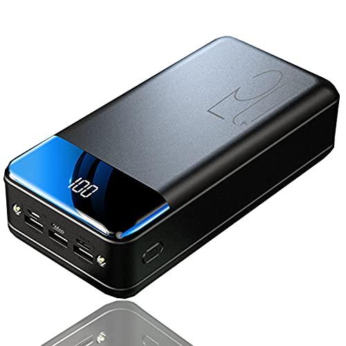 Batería Externa 50000mAh 2.1A Carga Rápida de Power Bank 3 USB y Pantalla LCD y Linterna LED, Cargador Movil Portátil Powerbank para iPhone Samsung Huawei iPad Smartphones, Tablets y más