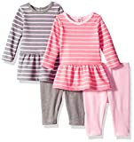 Hanes Girls Ultimate Baby Flexy Set-2 Long Sleeve Dresses with 2 Leggings, Pink/Grey Stripes, 12-18 Months