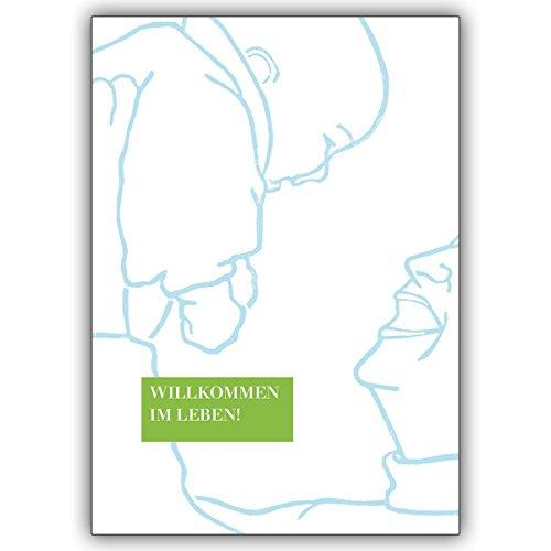 Wenskaarten met korting voor hoeveelheid: felicitatiekaart voor baby/geboorte in lichtblauw: Welkom in het leven • vrolijke wenskaart, cadeaukaart voor de geboorte om de jonge familie te feliciteren zakelijk & privé 10 Grußkarten