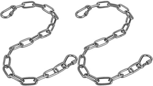"""JJDPARTS Chain, Hanging Hammock Chair Chain Hanging Kits with Two Carabiners for Hammock, Sandbag, Hanging Chair Indoor Outdoor (Two Chains 60cm   23"""" Silver)"""