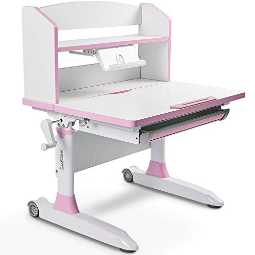 Ilogicase Kids Study Desk | Height Adjustable Children Table with Book Holder Stand and Drawer Storage | Ergonomic Desktop for Writing, Drawing and Painting | Home School use (Kids Desk 501, Pink)…