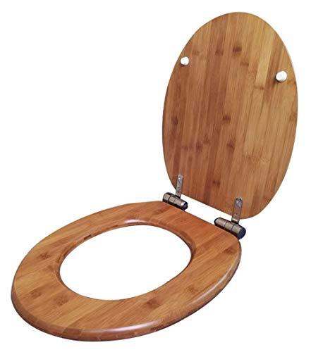 Dongyd Tapa del inodoro de bambú Natural con Asiento de Inodoro y Tapa de Asiento de Inodoro Compatible con la Forma de U/V/O de Madera sólida Ultra Resistente Superior Resistente