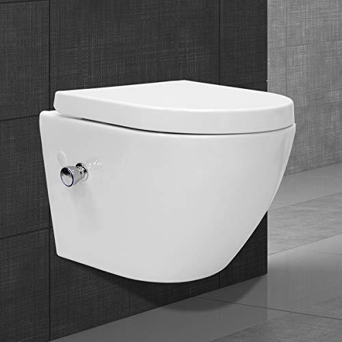 ECD Germany Spülrandloses Wand Hänge Dusch WC kurz aus Keramik mit Bidet-Funktion - Soft-Close Absenkautomatik Toilettensitz WC-Sitz Duroplast - abnehmbar - Weiß - Wand WC Tiefspül WC Hänge Toilette