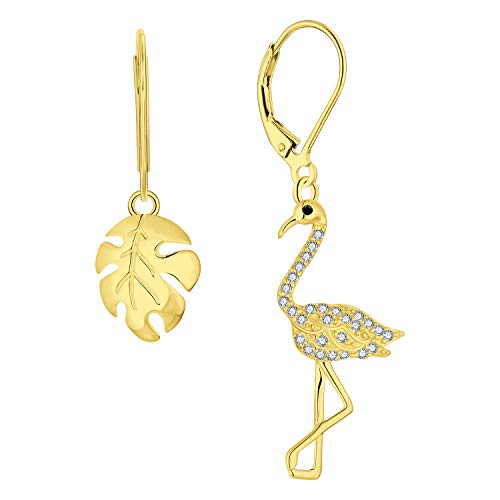 FJ Flamingo en tropische planten druppel oorbellen, in geel goud, cadeau voor vrouwen