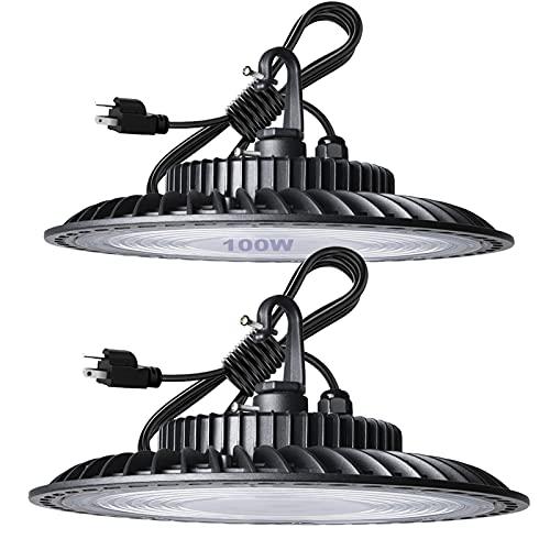 Lightdot 100W LED High Bay Light for Shop/Garage/Barn, 5000K 14000LM Super Bright High Bay LED Lights with 5ft UL Cable Plug for Commercial Warehouse Lighting (2 Pack)