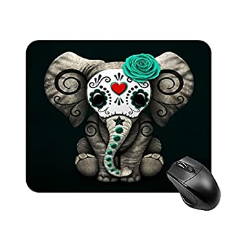 Mouse Pad Teal Blue Day of The Dead Sugar Skull Baby Elephant Design for Office Computers Laptop Travel Gaming Working Studying Graphic Designers Gaming pc Felt Desk mat LTB 1822cm
