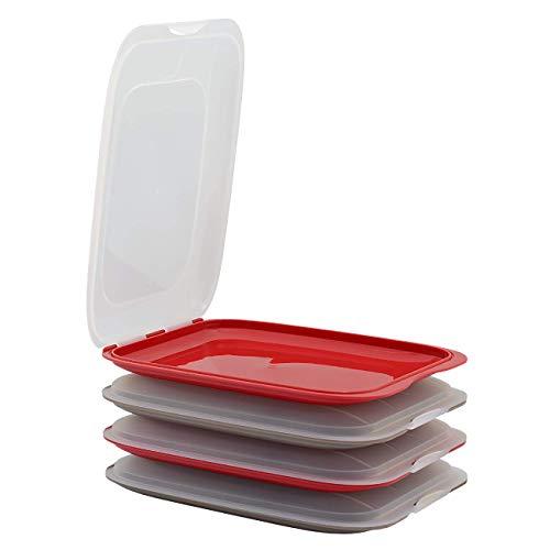 Gariella - Contenitore per salsicce impilabile di alta qualità per salsicce - 4 pezzi colore 2 x rosso e 2 x marrone, dimensioni 25 x 17 x 3,3 cm