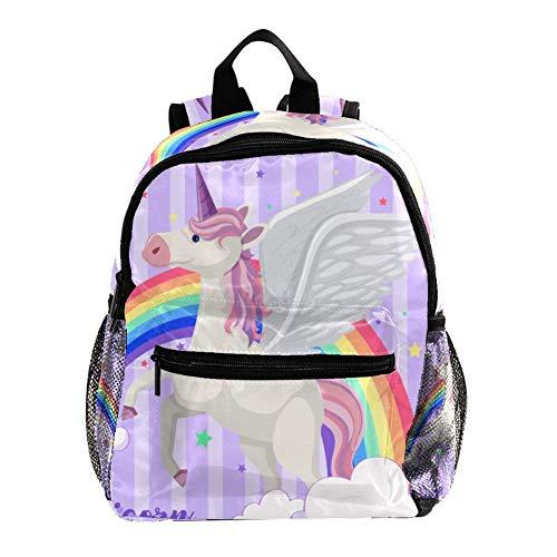 Schultasche für Kinder Lila Einhorn Engel Kinderrucksack Babytasche minirucksack für 3-8 Jährige Jungen und Mädchen im Kindergarten 25.4x10x30 cm