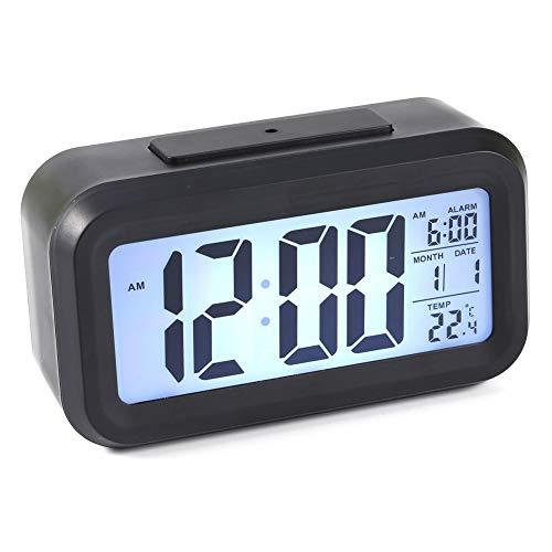 Raguso Retroiluminación LED Digital Snooze Desk Alarm Clock Temperatura Calendario Pantalla Local para la Oficina en casa Decoración del Coche