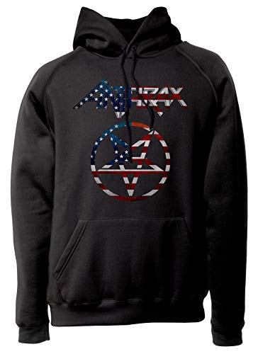 LaMAGLIERIA Sudadera Unisex Anthrax - USA Flag Artwork - Sudadera con Capucha Trash Metal Rock Band Hard Rock Metal