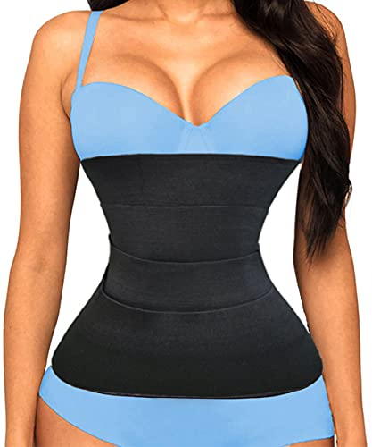 YIMEESUN Waist Trainer for Women Tummy Wrap Waist Trimmer Belt Slimming Body Shaper Plus Size (Black)