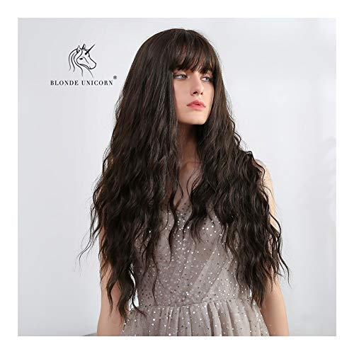 Sexy Lady Long Volledige Pruiken met een pony 26 Inches Curly Wave zwart bruin synthetische pruik Daily Dress for Women