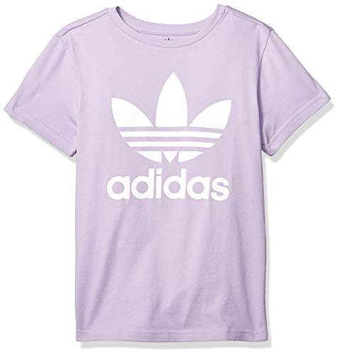 adidas Originals Boys' Big Trefoil Tee, purple glow/white, Medium