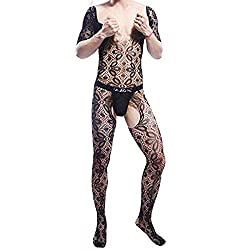 Men's transparent lace body stocking in black color.