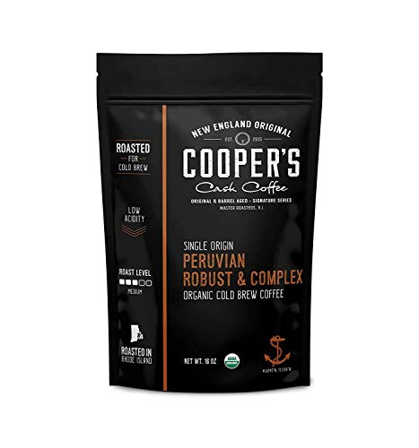 Organic Cold Brew Coffee Peru Reserve Single Origin Peruvian Coarsely Ground - 1 lb. Bag - Medium Roast