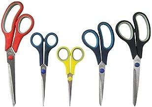 Katzco Stainless Steel Multi-Purpose Scissors Set - 5 Pieces Comfort Grip Scissors, For Fabric, Leather, Canvas, Vinyl, Paper, Clothes, Shoes, Kitchen, Arts and Crafts, & School Supplies