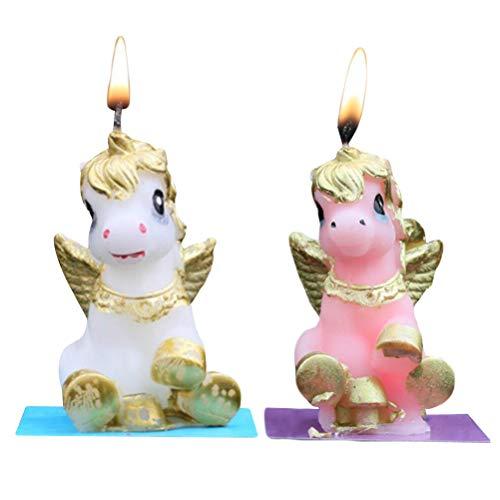 BESTOYARD 2Unidades Unicornio geburtstagstorte Vela sin Navidad Velas para Tartas Navidad Fiesta de cumpleaños Decoración