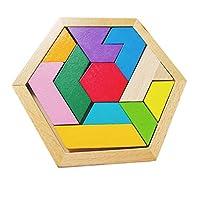 PULABO クリエイティブジオメトリ木製パズルカラフル早期教育学習ビルディングブロックおもちゃインテリジェンスジグソーパズル子供のおもちゃ子供のための頭の体操ギフト包装がしっかりしていて、製品を保護します