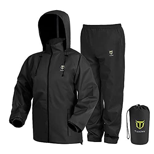 TideWe Rain Suit, Waterproof Breathable Lightweight Rainwear (Black Size S)