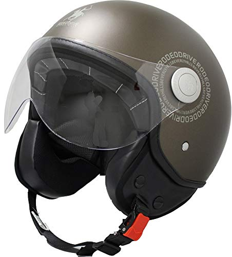 Rodeo Drive RD104N Plus Casco scooter demi jet color, tabaco, XXL